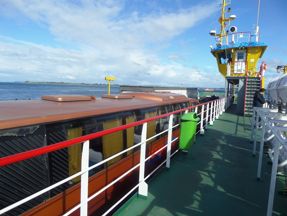The ferry over from the edge of the Chile's land to the island of Chiloe.